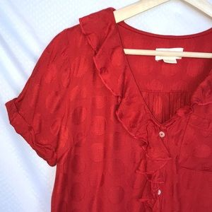 Maeve Red Jojo Ruffle Dot Blouse Top XS